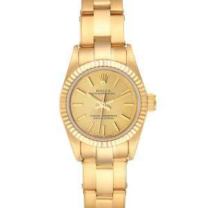 Rolex Champagne 18K Yellow Gold President 67198 Women's Wristwatch 24 MM