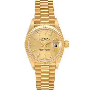 Rolex Champagne 18K Yellow Gold President Datejust 69178 Women's Wristwatch 26 MM