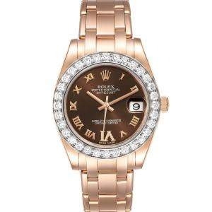 Rolex Brown Diamonds 18k Rose Gold Pearlmaster 81285 Women's Wristwatch 34 MM
