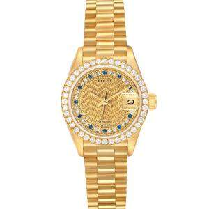 Rolex Champagne Diamond And Sapphires 18K Yellow Gold President Datejust 69138 Women's Wristwatch 26 MM