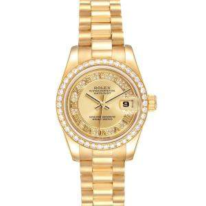 Rolex Champagne Diamonds 18k Yellow Gold President 179138 Women's Wristwatch 26 MM