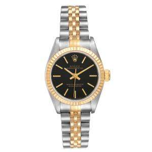 Rolex Black 18K Yellow Gold And Stainless Steel Oyster Perpetual 67193 Women's Wristwatch 24 MM