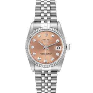 Rolex Salmon Diamonds 18K White Gold And Stainless Steel Datejust 78274 Women's Wristwatch 31 MM