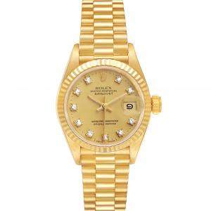 Rolex Champagne Diamonds 18K Yellow Gold President Datejust 69178 Automatic Women's Wristwatch 26 MM