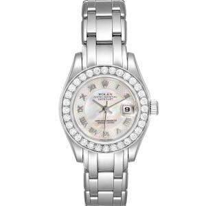 Rolex MOP Diamonds White Gold Pearlmaster 80299 Women's Wristwatch 29 MM