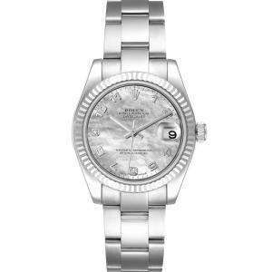 Rolex MOP Diamonds 18K White Gold Datejust 178274 Women's Wristwatch 31 MM
