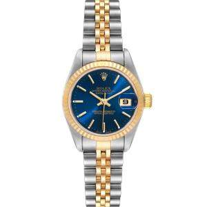 Rolex Blue 18K Yellow Gold And Stainless Steel Datejust 79173 Women's Wristwatch 26 MM
