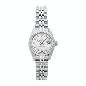 Rolex Silver Diamonds 18K White Gold And Stainless Steel Datejust 69174 Women's Wristwatch 26 MM