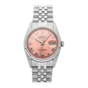 Rolex Pink 18K White Gold And Stainless Steel Datejust 16234 Women's Wristwatch 36 MM