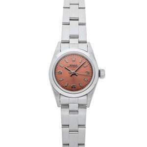 Rolex Pink Stainless Steel Oyster Perpetual 67180 Women's Wristwatch 26 MM