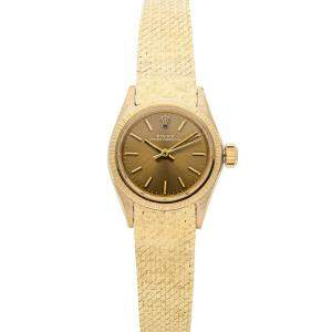 Rolex Champagne 18K Yellow Gold Oyster Perpetual 6803 Vintage Women's Wristwatch 25 MM