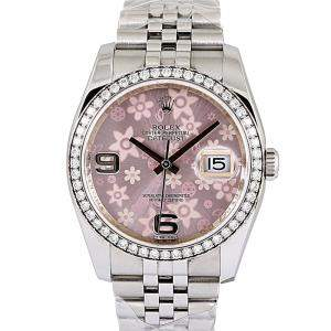 Rolex Pink Diamonds Stainless Steel Datejust Women's Wristwatch 36 MM