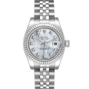 Rolex MOP Diamonds 18K White Gold And Stainless Steel Datejust 179174 Women's Wristwatch 26 MM