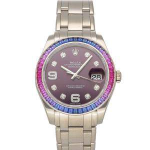 Rolex Purple Diamonds 18K White Gold Pearlmaster Datejust 86349SAFUBL Women's Wristwatch 39 MM