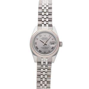 Rolex Silver 18K White Gold And Stainless Steel Datejust 179174 Women's Wristwatch 26 MM