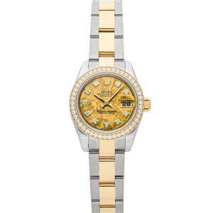 Rolex Gold Diamonds 18K Yellow Gold And Stainless Steel Datejust 179383 Women's Wristwatch 26 MM