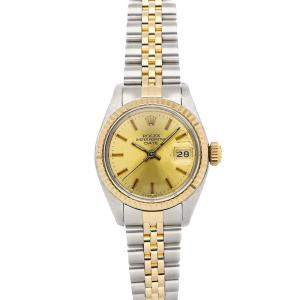 Rolex Champagne 18K Yellow Gold And Stainless Steel Datejust 6917 Women's Wristwatch 26 MM