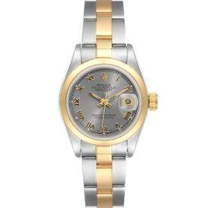 Rolex Silver 18K Yellow Gold And Stainless Steel Datejust 69163 Women's Wristwatch 26 MM