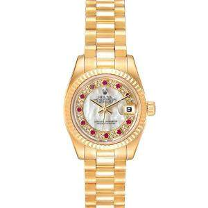 Rolex MOP Myriad Diamonds Rubies 18K Yellow Gold President Datejust 179178 Women's Wristwatch 26 MM