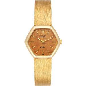 Rolex Brown Wooden 18k Yellow Gold Cellini Vintage Cocktail 4303 Women's Wristwatch 26 x 28 MM