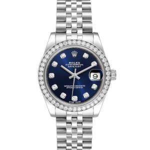 Rolex Blue Diamonds 18k White Gold And Stainless Steel Datejust 178384 Women's Wristwatch 31 MM