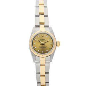 Rolex Champagne Diamonds 18K Yellow Gold And Stainless Steel Oyster Perpetual 67193 Women's Wristwatch 24 MM
