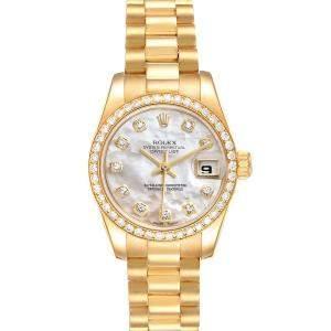 Rolex MOP Diamonds 18k Yellow Gold President Datejust 179138 Women's Wristwatch 26 MM