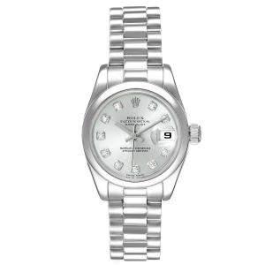 Rolex Silver Diamonds Platinum President Datejust 179166 Women's Wristwatch 26 MM