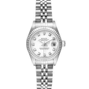 Rolex White Diamonds 18K White Gold And Stainless Steel Datejust 79174 Women's Wristwatch 26 MM