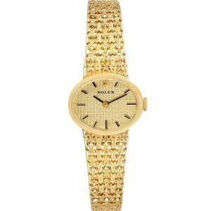 Rolex Champagne 14k Yellow Gold Vintage Cocktail Women's Wristwatch 19 x 22 MM