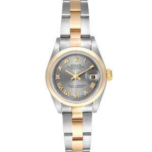 Rolex Grey 18K Yellow Gold And Stainless Steel Datejust 79163 Women's Wristwatch 26 MM