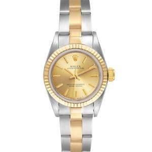 ساعة يد نسائية رولكس اويستر بيربيتوال 67193 ذهب أصفر عيار 18 و ستانلس ستيل شامبانيا 24 مم