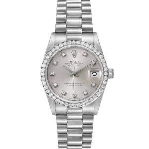 Rolex Silver Diamonds Platinum President Datejust 68286 Women's Wristwatch 31 MM