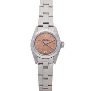 Rolex Salmon Stainless Steel Oyster Perpetual 67194 Women's Wristwatch 26 MM