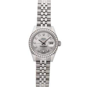 Rolex Silver Diamonds 18K White Gold And Stainless Steel Datejust 179384 Women's Wristwatch 26 MM