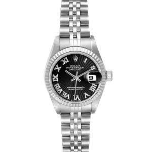 ساعة يد نسائية رولكس ديتجاست 79174 ستانلس ستيل وذهب أبيض عيار 18 أسود 26 مم
