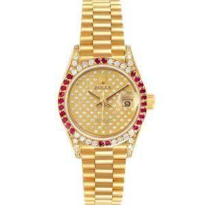 ساعة يد نسائية رولكس بريزيدنت 69038 ذهب أصفر عيار 18 روبي ألماس شامبانيا 26 مم