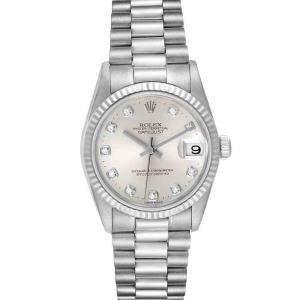Rolex Silver Diamonds 18K White Gold President Datejust 78279 Women's Wristwatch 31 MM