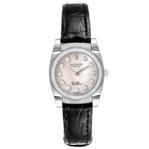 ساعة يد نسائية رولكس سيليني كيستيلو 6311 ذهب أبيض عيار 18 ألماس صدف 26مم
