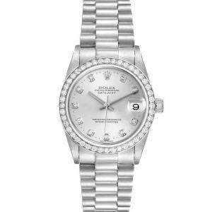 Rolex Silver Diamonds Platinum President Datejust 78286 Women's Wristwatch 31 MM