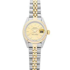 ساعة يد نسائية رولكس ديت جست 69173 ستانلس ستيل وذهب أصفر عيار 18 شامبانيا 26 مم