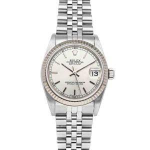 ساعة يد نسائية رولكس ديت جست 78274 ستانلس ستيل وذهب أبيض عيار 18 فضية 31مم