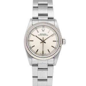 ساعة يد نسائية رولكس ستانلس ستيل أويستر بربيتوال 77014  وذهب أبيض عيار 18 فضية 31 مم