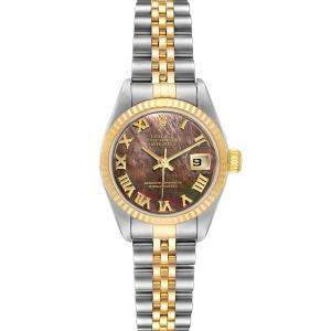 Rolex Black MOP 18K Yellow Gold And Stainless Steel Datejust 79173 Women's Wristwatch 26 MM