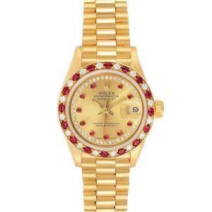 Rolex Champagne Diamonds Ruby 18k Yellow Gold President 69188 Women's Wristwatch  26 MM