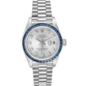 Rolex Silver Diamonds Sapphire 18K White Gold President Datejust 69119 Women's Wristwatch 26 MM