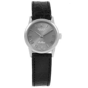 Rolex Slate 18k White Gold Cellini Classic 6111 Men's Wristwatch 26 MM