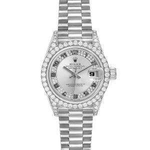 Rolex Silver Myriad Diamond 18K White Gold President 69159 Women's Wristwatch 26 MM