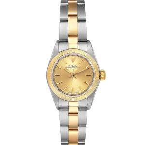 Rolex Champagne 18K Yellow Gold And Stainless Steel Oyster Perpetual 67243 Women's Wristwatch 24 MM