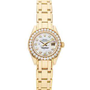 Rolex MOP Diamonds 18K Yellow Gold Pearlmaster 80298 Women's Wristwatch 29 MM